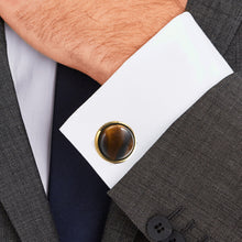 Load image into Gallery viewer, Natural enamel gold tiger eye stone Casting Serrated  stainless steel 316L cufflinks for Tuxedo Business Formal Shirts one pairs