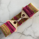 Woven bracelet created on our Purl & Loop bracelet loom. This one is made with Sue Spargo threads.