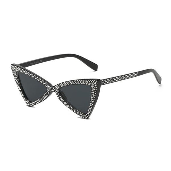 Women Retro Extreme High Pointed Rhinestone Fashion Cat Eye Sunglasses