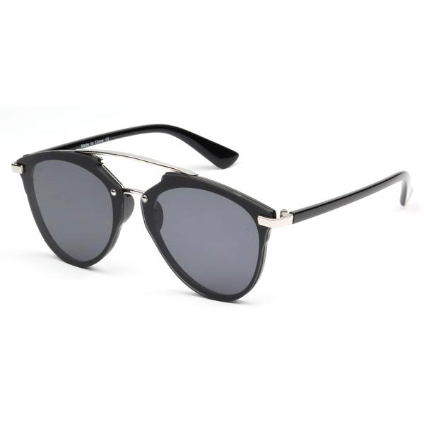 Rimless Brow-Bar Round Cat Eye Sunglasses