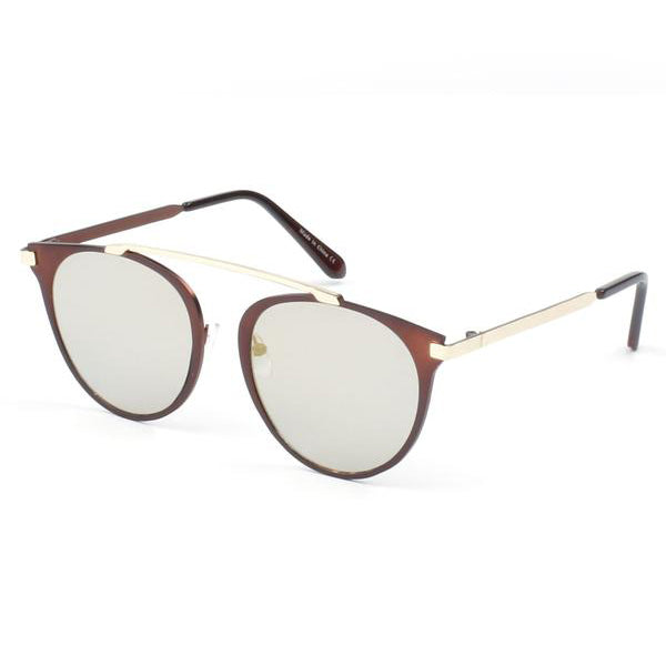 Retro Brow-Bar Round Cat Eye Sunglasses
