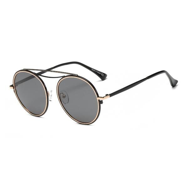 Brow-Bar Polarized Circle Sunglasses