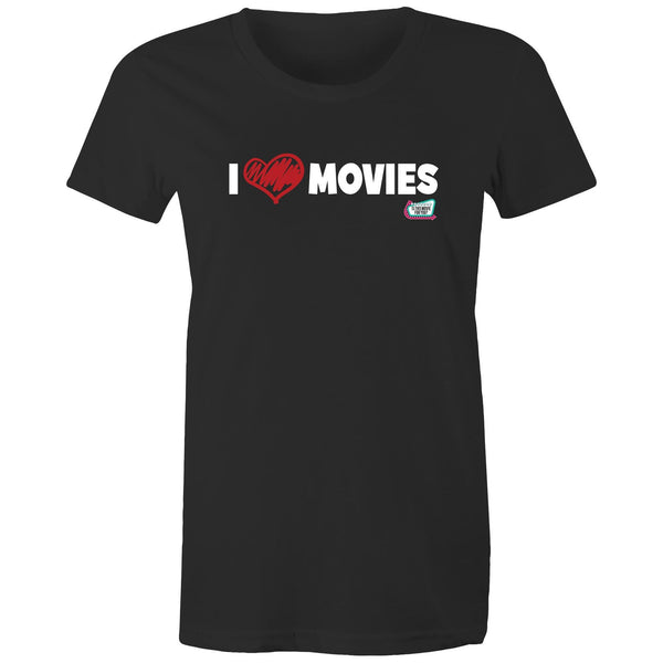 'I Love Movies' - Is This Movie For You? (white font) - AS Colour - Women's Maple Tee