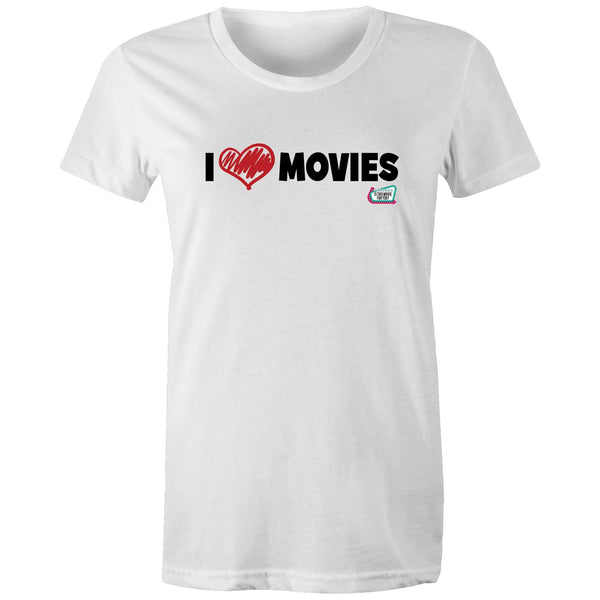 'I Love Movies' Is This Movie For You? (black font) AS Colour - Women's Maple Tee
