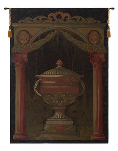 Olde World Filigree Urn Black European Tapestry