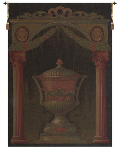 Olde World Filigree Urn Black II European Tapestry