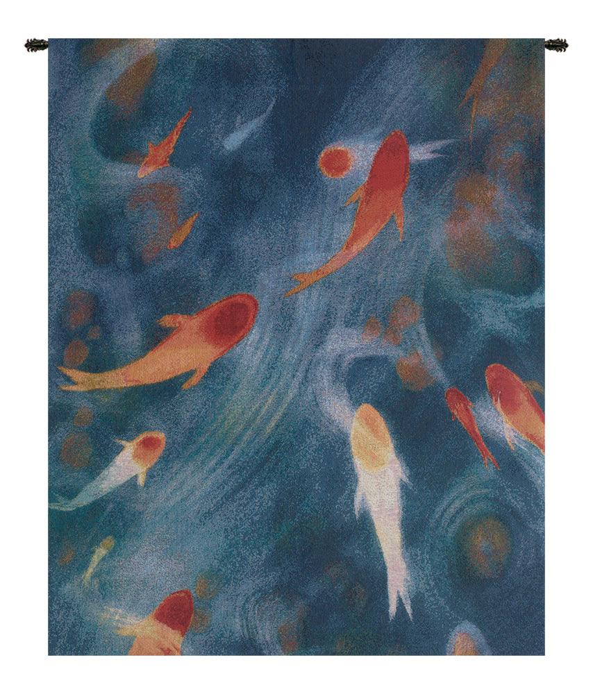 Koi Pond Small Tapestry Wall Hanging