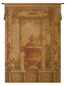 Urn with Columns Brown European Tapestry