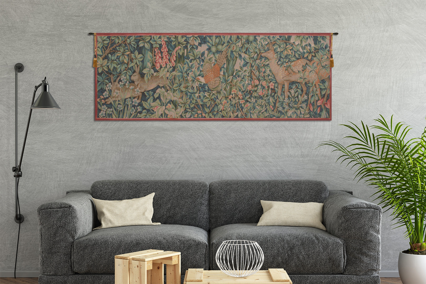 Rabbit, Pheasant, and Doe French Tapestry