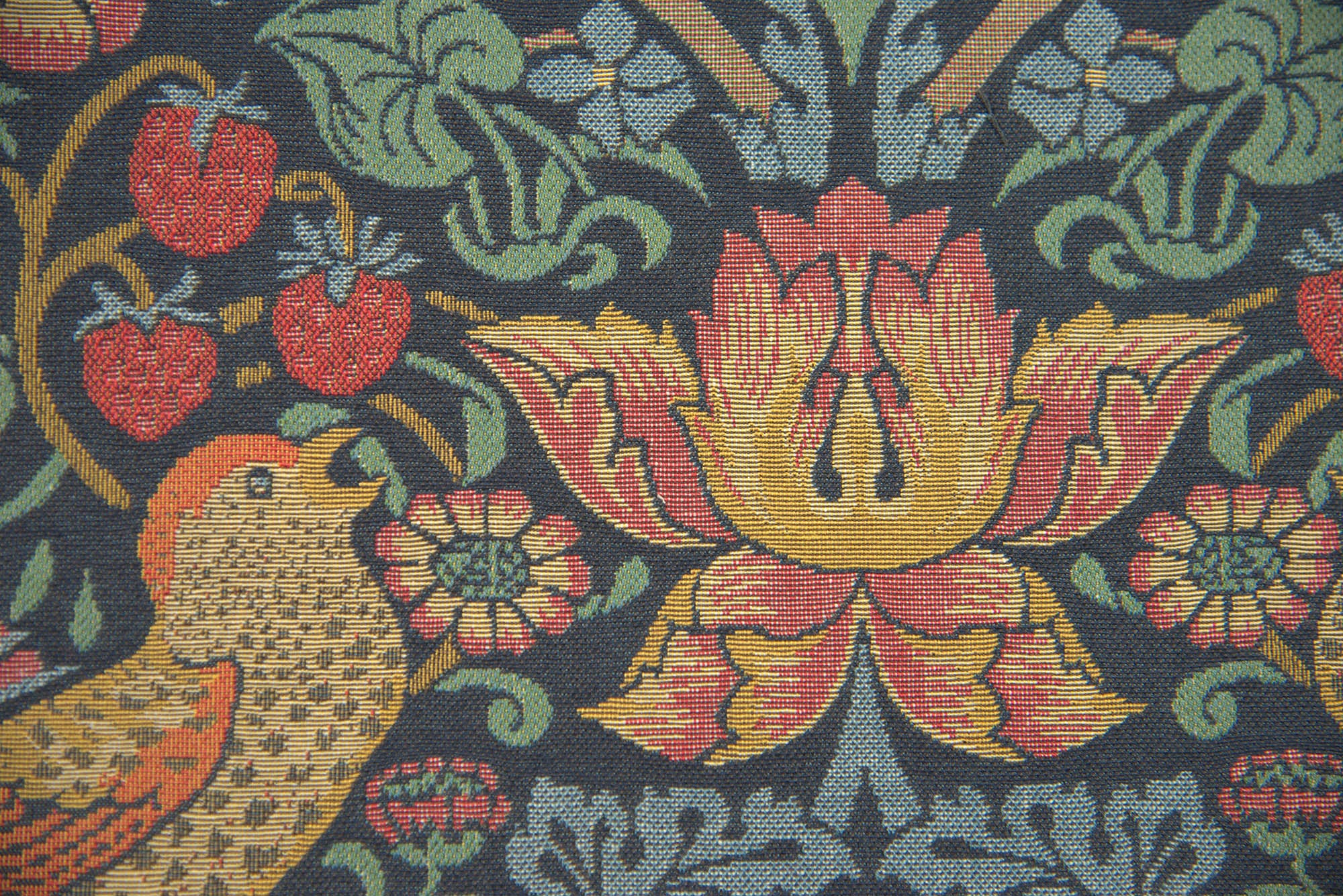 "Strawberry Thief ""A"" Blue by William Morris European Cushion Cover"
