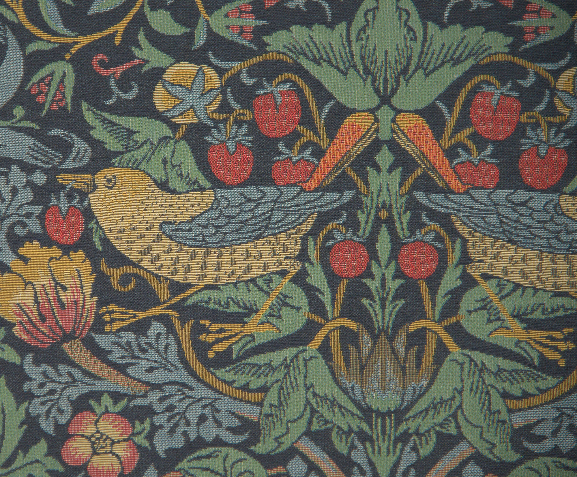 "Strawberry Thief ""B"" Blue by William Morris European Cushion Cover"