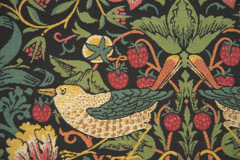 "Strawberry Thief ""B"" Black by William Morris European Cushion Cover"