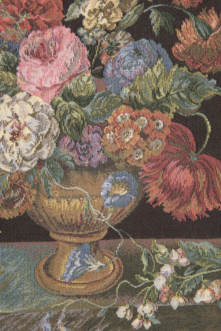 Flower Basket Black European Tapestry