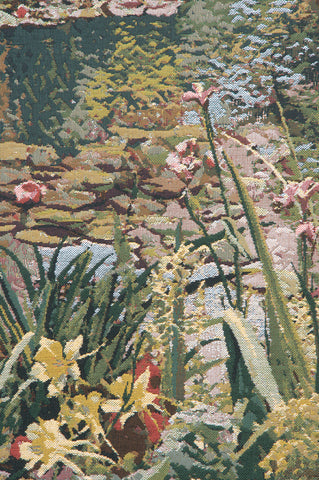 Monet's Garden 3 with Border Belgian Tapestry Wall Hanging