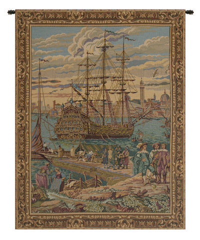 The Galleon Guardi Italian Tapestry Wall Hanging