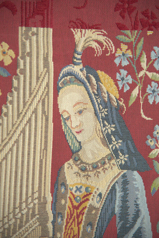 Lady with the Organ French Tapestry Wall Hanging