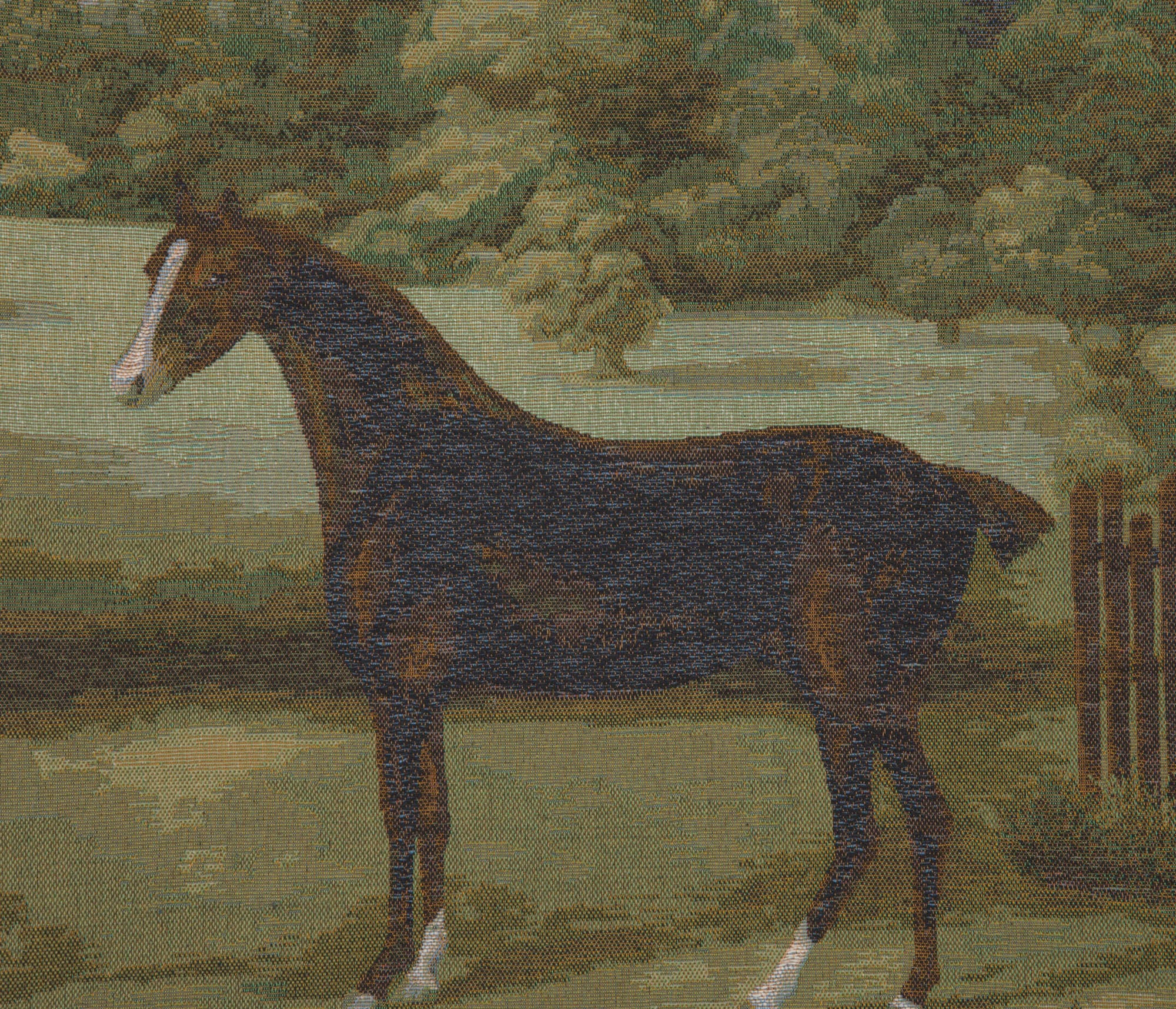 Black Horse French Tapestry Cushion