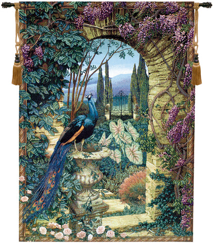 Secret Garden Peacock Fine Art Tapestry