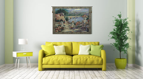 Italian Lake View Tapestry Wall Hanging