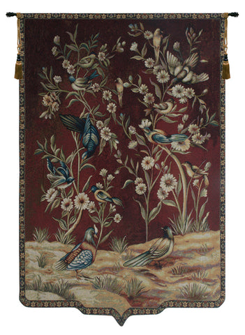 Wild Birds and Flowers Tapestry Wall Hanging