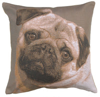 Pugs Face Grey  French Tapestry Cushion