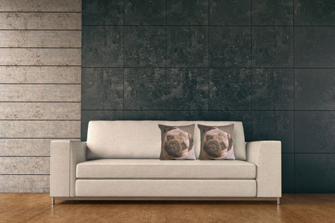 Pugs Face Grey I French Tapestry Cushion