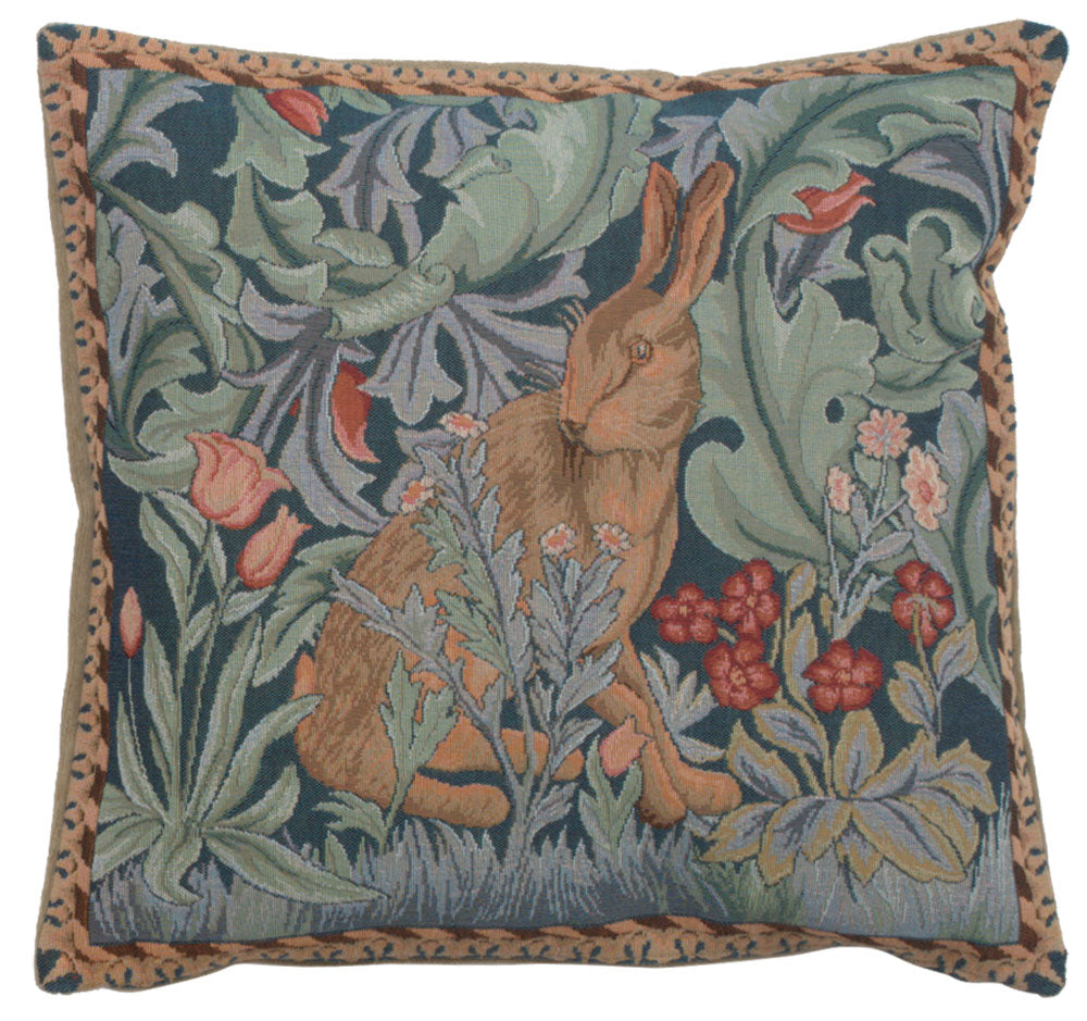 Rabbit As William Morris 3 French Tapestry Cushion