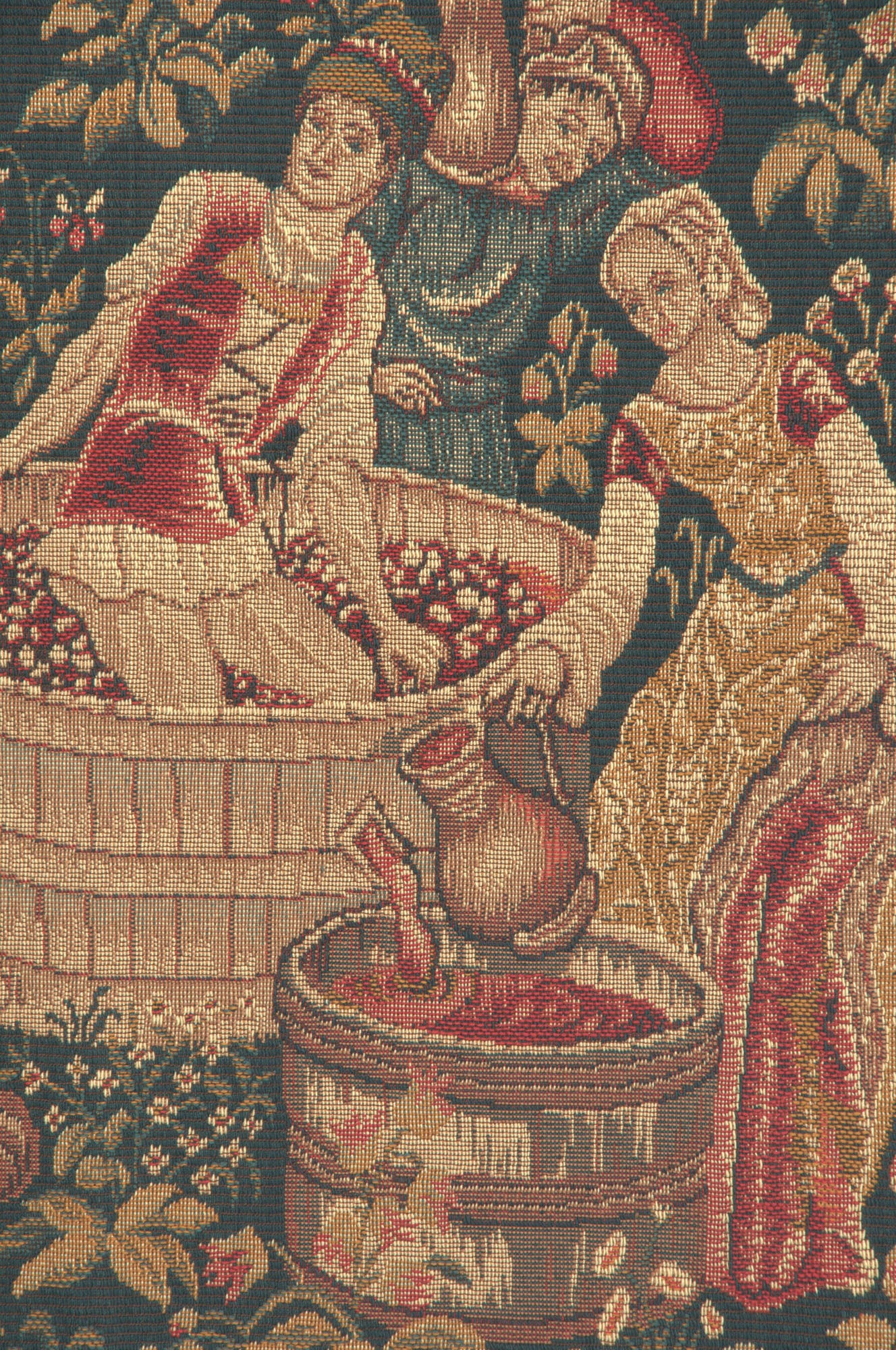 Le Vin Et la Vigne French Tapestry Wall Hanging
