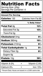 100% CRICKET PROTEIN POWDER - NUTRITION FACTS