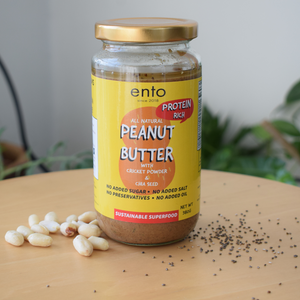 ento High Protein Peanut Butter with Chia Seeds (All Natural - No Salt, No Sugar, No Preservatives, No added Oil) 400g