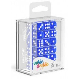D6 Dice 12 mm Translucent - Blue (36)