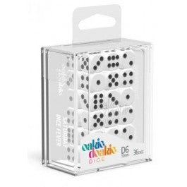 D6 Dice 12 mm Solid - White (36)