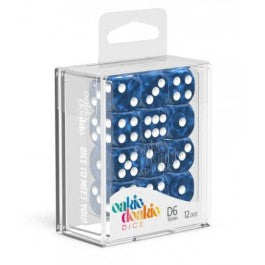 D6 Dice 16 mm Marble - Blue (12)
