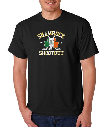Black Faded Shamrock Shootout Short Sleeve Tees
