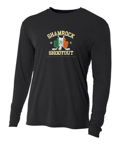 Black Faded Shamrock Shootout - Kids A4 - LS Tees