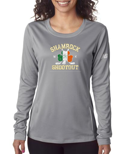Grey Faded Shamrock Shootout - LADIES New Balance - LS Tees