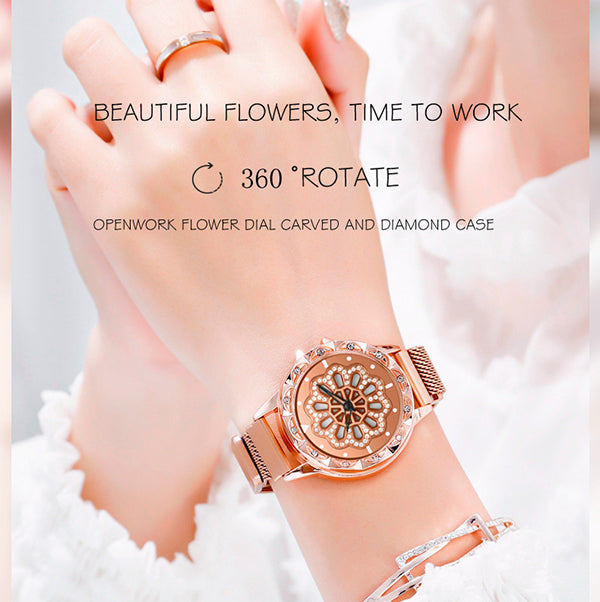 (Buy 2 free shipping!)Magnetic Rotate Hollow Snowflake Quartz Watch