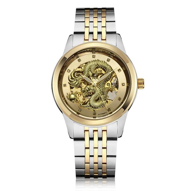 Luxury Carved Dial Automatic Mechanical Waterproof Watch