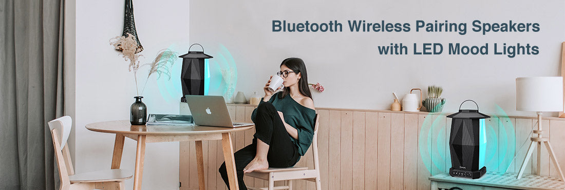 Bluetooth Wireless Pairing Speakers with LED Mood Lights