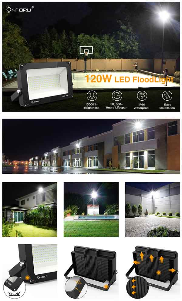 Onforu 120W LED Flood Light, 13000LM Super Bright Security Lights 5000K Daylight White, IP66 Waterproof, Outdoor Floodlight for Yard, Garden, Playground, Basketball Court