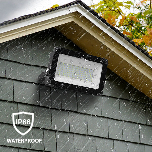 Made of Die-cast aluminum housing and tempered glass, the outdoor LED flood light can work well in rain, sleet, snow