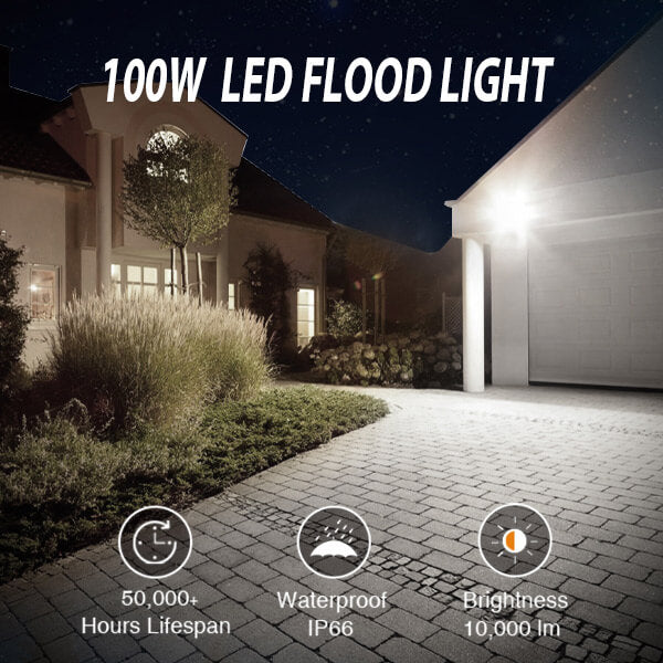 100W LED Flood Light 10000lm Outdoor Floodlight 2 Pack for Yard IP66 Waterproof 5000K Daylight White