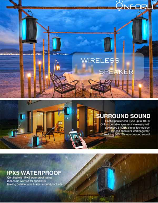 Onforu Bluetooth Speaker, 25W Waterproof Outdoor Lantern Speaker, Support Max.100 Speakers Synchronous Play, with HD Stereo Sound, Deep Bass, Mood Lights, 100ft Paring Range. Bluetooth V4.2