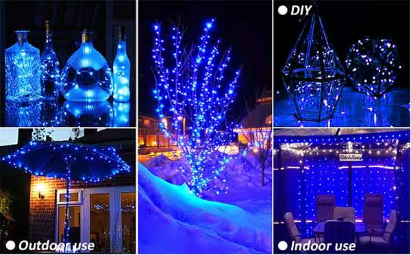 Onforu 10ft 16 Pack Blue LED String Fairy Lights, 30 LEDs Waterproof Silver String Wire Lights, Battery Operated (Included), Mason Jar Lights, Firefly Starry Lights for DIY, Wedding, Party, Christmas