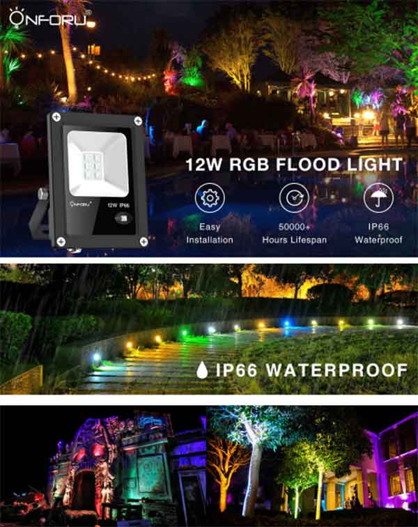 Onforu 4 Pack 12W RGB LED Flood Lights with Remote Control, IP66 Waterproof Dimmable Color Changing Floodlight, 11 Colors 2 Modes Wall Washer Light, Indoor Outdoor Decorative Garden Landscape Lighting