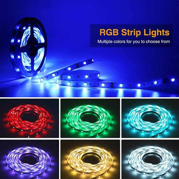 15m Flexible Color Changing Lights Strip, Comes with 24 key IR remote, turn on the lights easily. Self-adhesive back with adhesive tape for safe and easy application