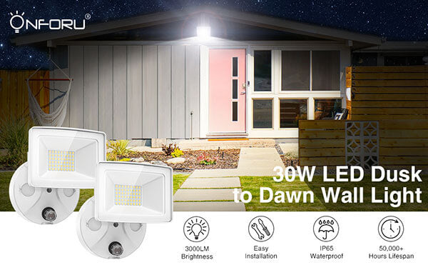 30W Dusk to Dawn LED Outdoor Flood Light 5000K Daylight Floodlight with Photocell, IP65 Waterproof, Adjustable Head for Garage, Patio, Garden, Yard