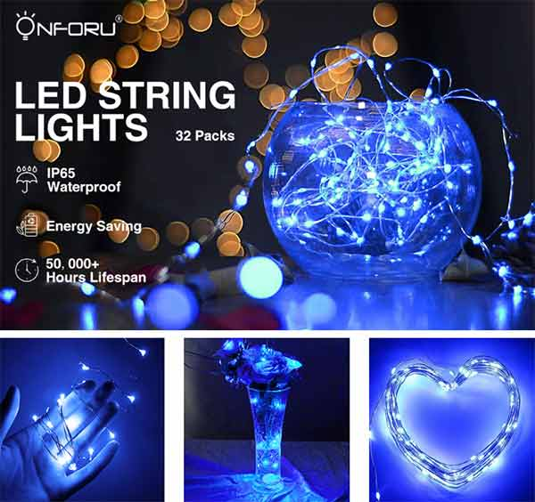 Onforu 32 Pack Fairy Lights, Battery Operated String Lights Waterproof with 15 LEDs, 4.9ft Mason Jar Firefly Starry Lights for Party, Christmas, DIY, Wedding Decorations, Blue.