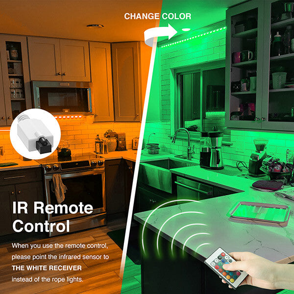 This strip light can be simply controlled by IR remote (included), convenient to adjust brightness.
