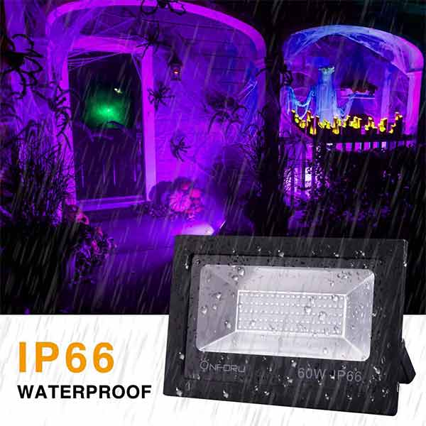 Onforu 2 Pack 60W UV LED Black Light Flood Light with Plug(5ft Cable), IP66 Waterproof, for Blacklight Party, Stage Lighting, Aquarium, Body Paint, Fluorescent Poster, Neon Glow, Glow in The Dark
